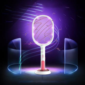 Elektryczna packa na komary 2 tryby 1200mAh USB akumulator domowe muchy robaki Zapper rakieta wkładki zabójca muchy szkodniki Swatter pułapka tanie i dobre opinie VAKIND CN (pochodzenie) 110-240 v 2-warstwowa 2200 v Mosquito Swatter 2-4 godziny 540mm Elektryczne 220mm ładowanie przez USB