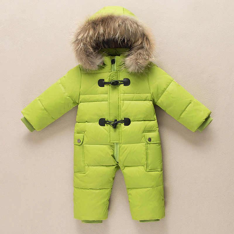 Infantil conjunto para baixo jaqueta das crianças à prova de vento para baixo terno menina roupa de inverno menino terno de esqui quente crianças snowsuits inverno 90%