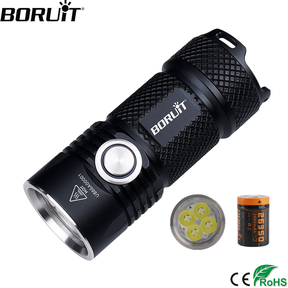 BORUiT BC15 4*XPG3 3000LM Powerful LED Flashlight USB Rechargeable 26350 6-Mode Super Bright Torch For Camping Mountaineering