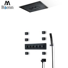 Embedded Ceiling Showerhead Waterfall Thermostatic Shower Faucets Rainfall  Shower Head LED Light Black Shower Set Massage цена