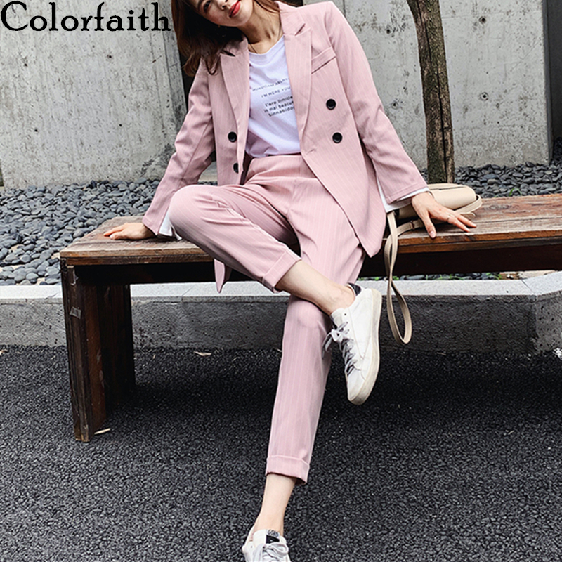 Colorfaith 2020 New Spring Woman Sets 2 Piece Striped Matching Pants Casual Double Breasted Office Elastic Waist Suit WS1266