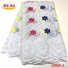 NIAI African Cotton Lace Fabric 2020 High Quality Swiss Voile Lace In Switzerland Embroidery Swiss voile Lace Fabric XY2888B 2