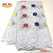 Tela de encaje de algodón africano NIAI, encaje de gasa suiza de alta calidad 2020, bordado suizo, XY2888B 2 de encaje de gasa Suiza