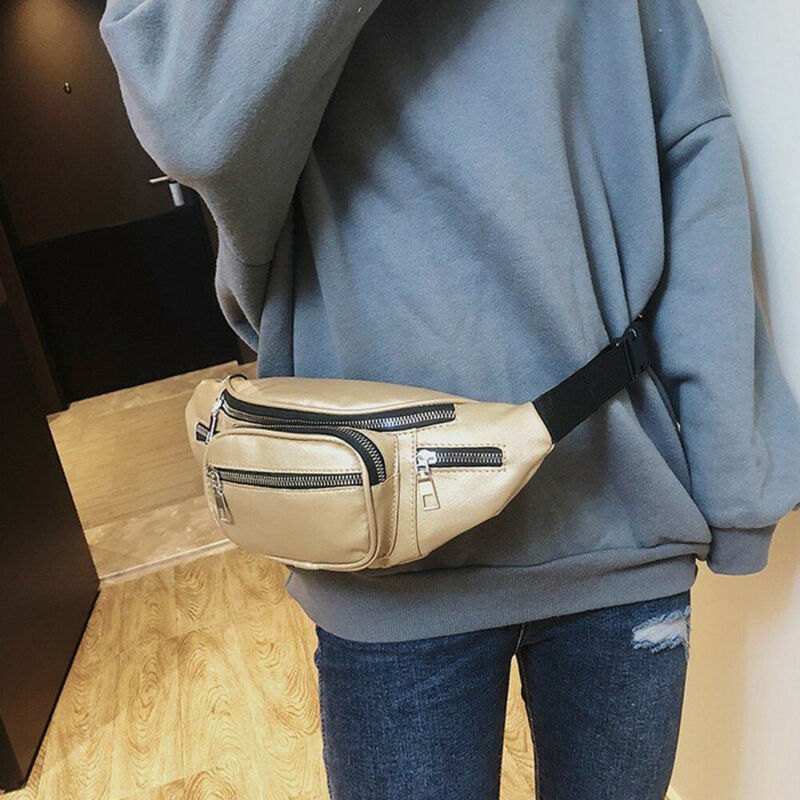Women's Waist Belt Bag Solid Leather Fanny Pack Shoulder Chest Bag Travel Small Large Capacity Phone Pouch