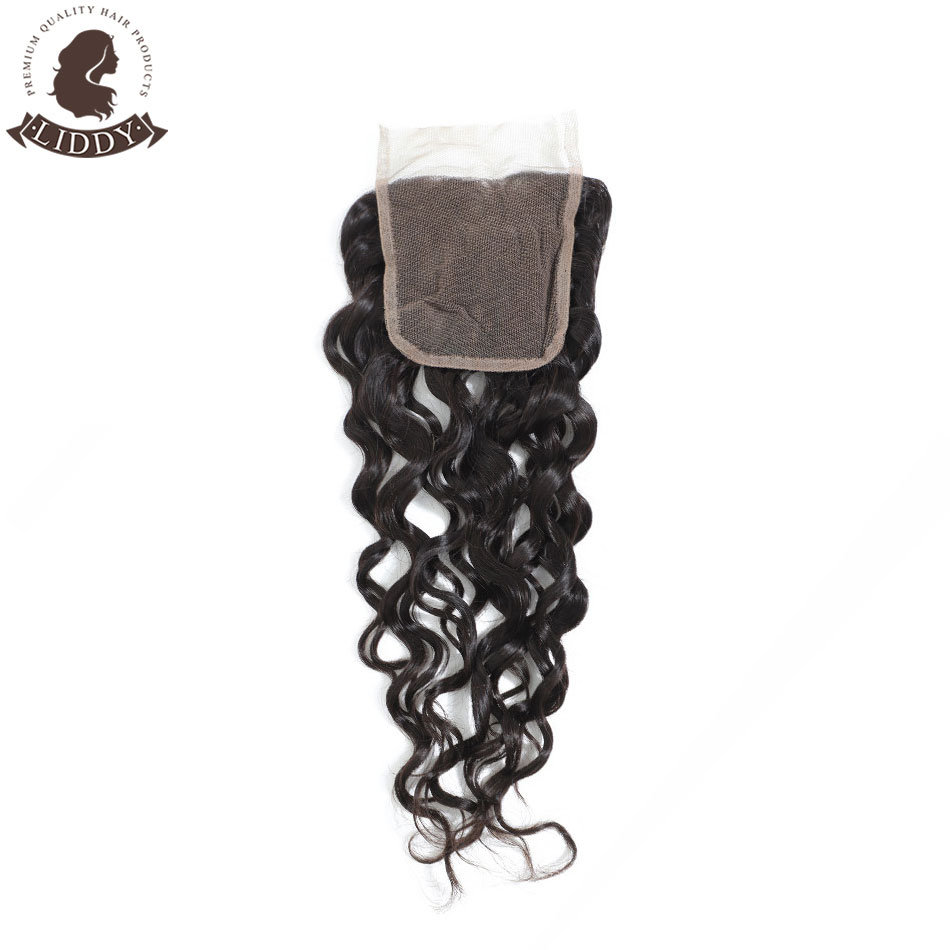 Liddy Water Wave 4x4 Lace Closure 100% Human Hair Closure Peruvian Hair Weaving Natural Color Non-remy Hair Frontal Closure