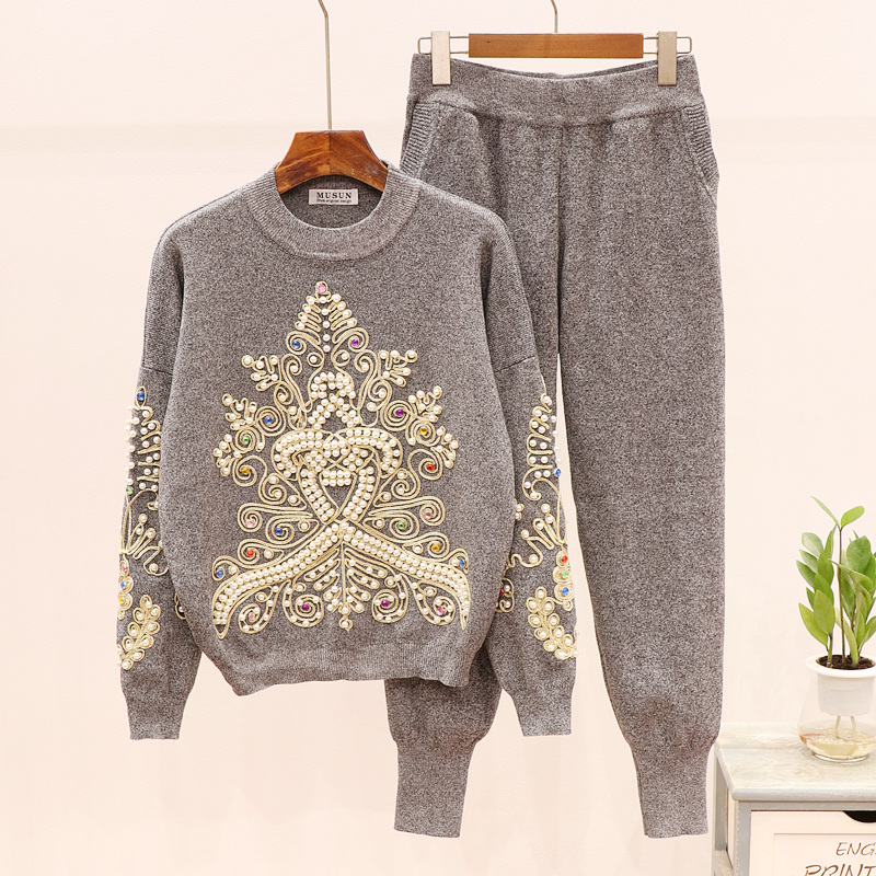 Set Female Beading Diamonds Long Sleeve Sweater Knit Pants 2pcs Women Autumn Loose Pullover Trousers Knitwear Ladies Tracksuits