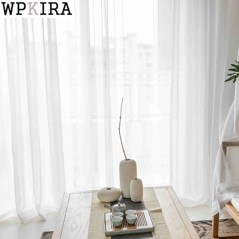 White Tulle Curtains For Living Room Decoration Modern Chiffon Solid Sheer Voile Kitchen Curtain S001&30