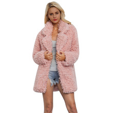 Fashion Coat Women Winter New Plush Female Lapel Furry Long Sleeve Clothes Shaggy Cardigan Fur Teddy
