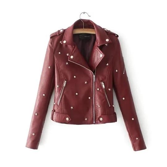 VITIANA Women PU Leather Black Jacket Autumn Female Long Sleeve Rivet Zipper Leathers Jackets Womens Moto Biker Coats