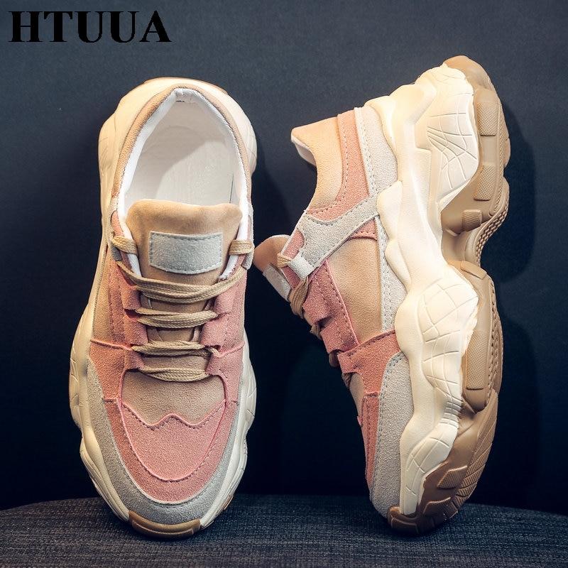 HTUUA/высококачественные кроссовки; цвет розовый, белый; женские Сникеры на платформе; кроссовки на не сужающемся книзу массивном каблуке 5 см; повседневная обувь для женщин; tenis SX3142