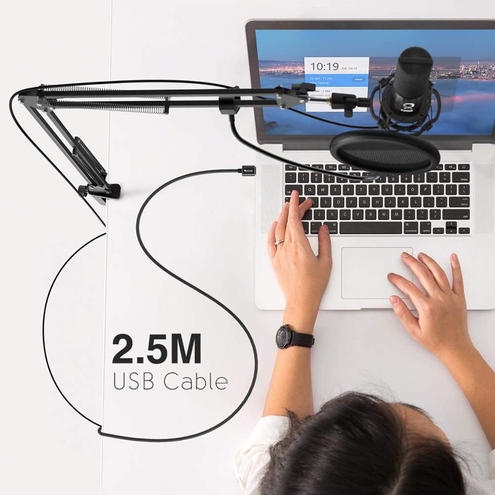 Kit de Microphone d'ordinateur USB à condensateur FIFINE Studio avec support de bras à ciseaux réglable support de choc pour Overs-T669 vocale YouTube - 4