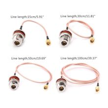 лучшая цена N Female Bulkhead To SMA Male Plug RG316 Pigtail Cable RF Coaxial Cables Jumper Cable
