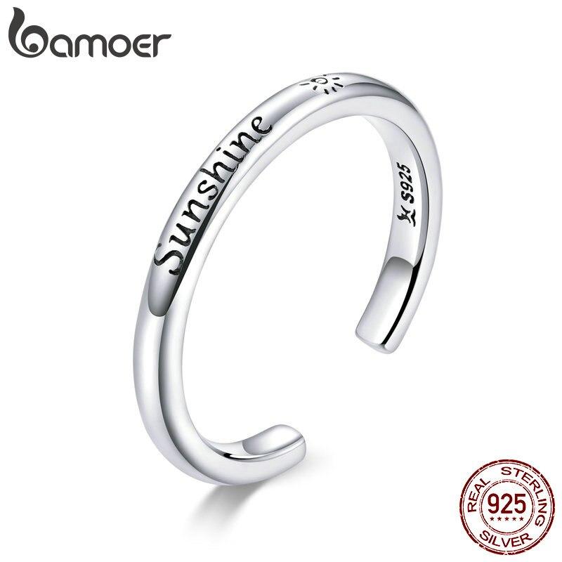 Bamoer 925 Sterling Silver Sunshine Engrave Adjustable Finger Rings For Women Stackable Korea Style Fine Jewelry Anel SCR649