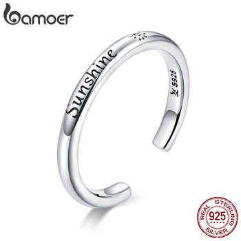 Bamoer 925 Sterling Silver Sunshine Engrave Adjustable Finger Rings For Women Stackable Korea Style Fine Jewelry Anel SCR649