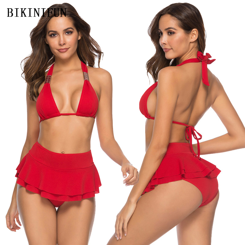 New Skirt Bikini Women Swimsuit Multi Layers Bottom Swimwear S XL Girl Solid Red Bathing Suit Backless Halter 2 Piece Bikini Set in Bikinis Set from Sports Entertainment