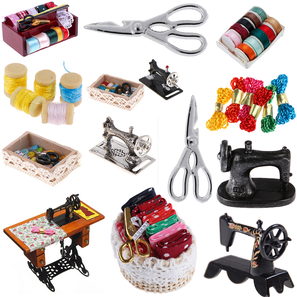 1:12 Mini Sewing Machine Tools Simulation Home Furniture For Girl Doll House Decoration Dollhouse Miniature Accessories