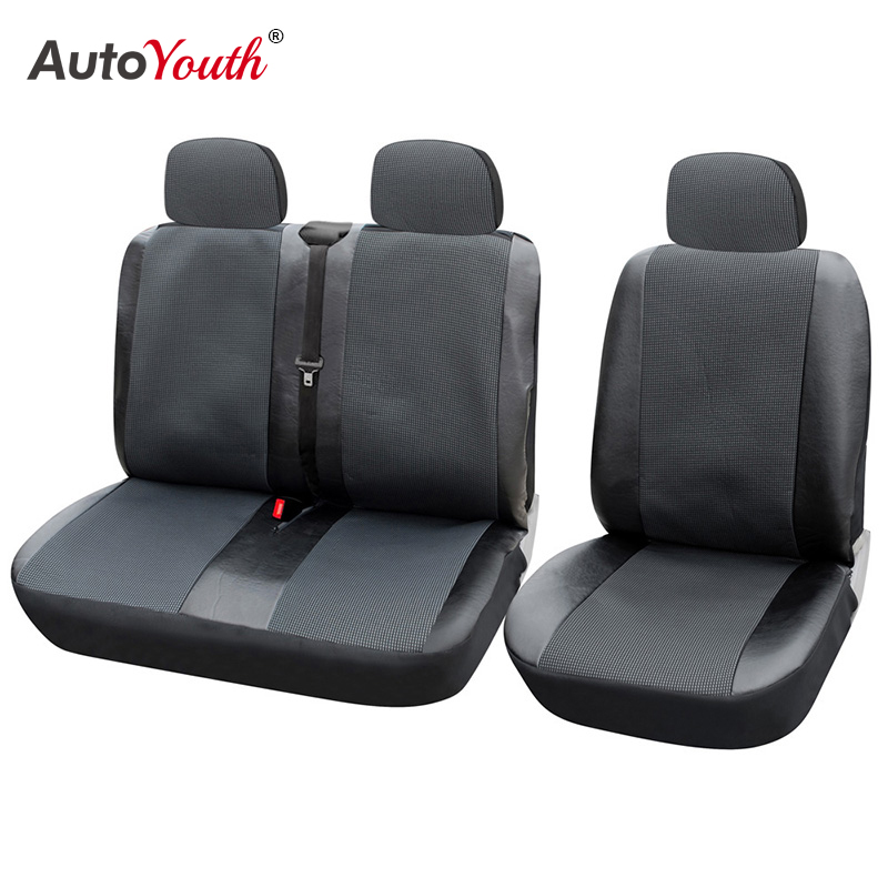1+2 Seat Covers Car Seat Cover for Transporter/Van, Universal Fit with Artificial Leather,Truck Interior Accessories