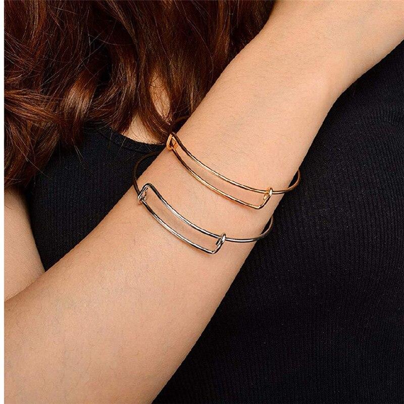 Diy sliderable pulseira diy extensível pulseira-regulamento de atividade alex aço fio pulseira