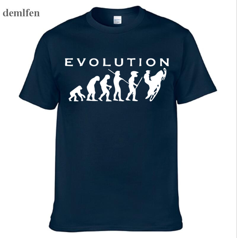 Fashion Evolution Snowmobiles Print T Shirt Funny T-shirt Men Short Sleeve Cotton Tees Tops