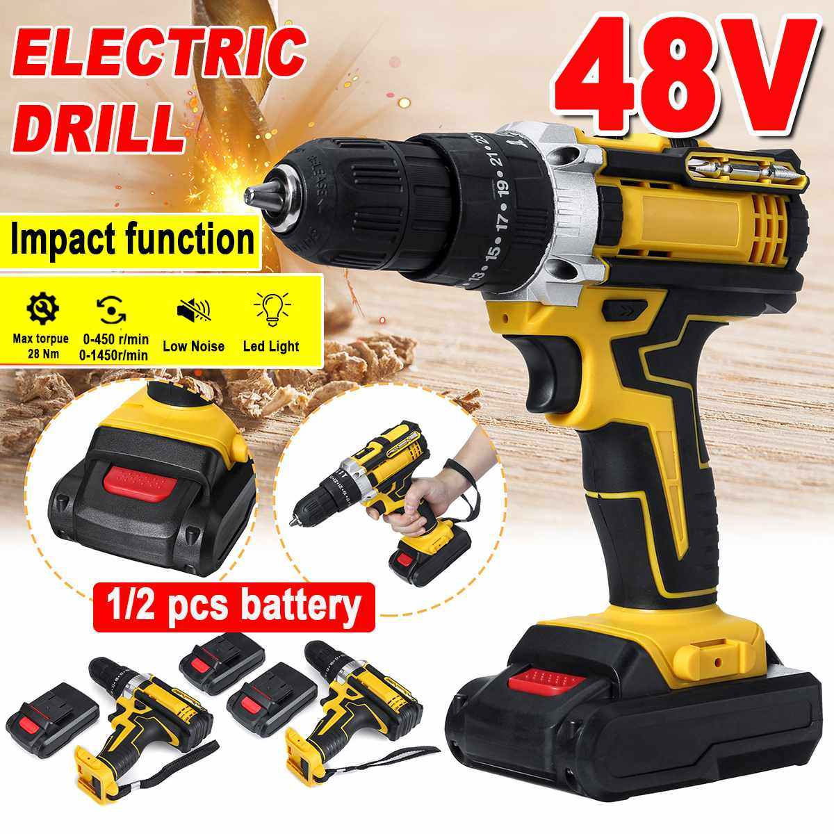 3 In 1 Cordless Electric Impact Drill Screwdriver 48v 2 Speed Driver Rechargeable 13000mah With 2 Li-ion Battery