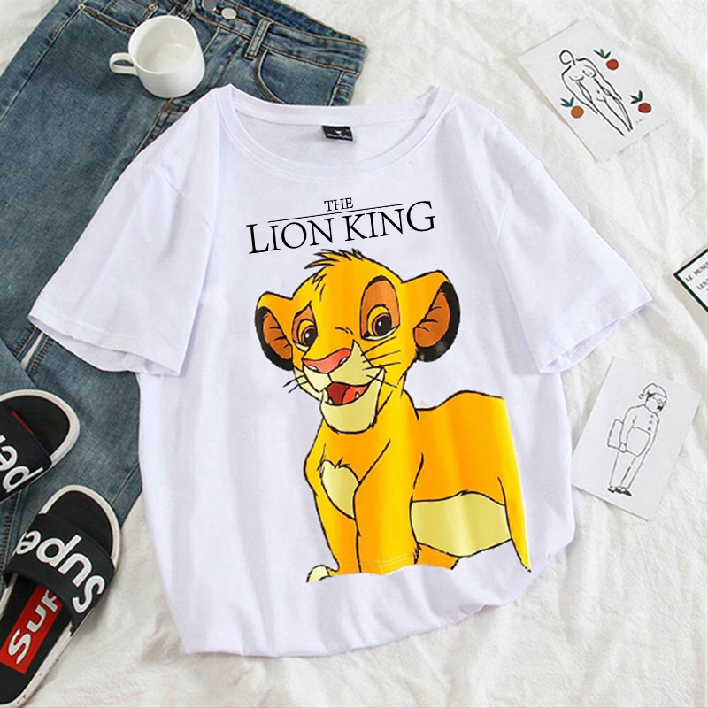 Hakuna-matata-Harajuku-kawaii-lion-king-graphic-tees-women-tops-aesthetic-t-shirt-Crew-neck-summer