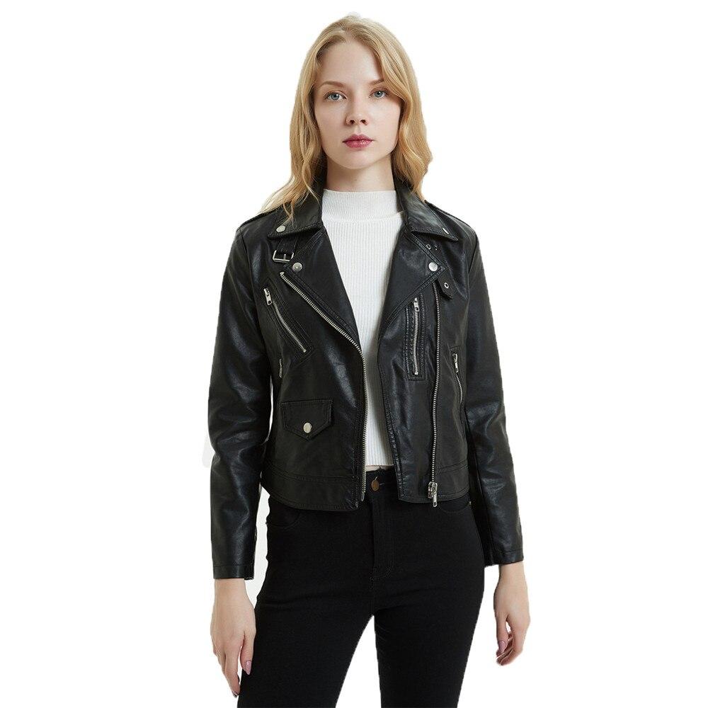 Black faux   leather   coat women white S-2XL plus size slim PU jacket autumn winter new lapel fashion short paragraph jacket LR522