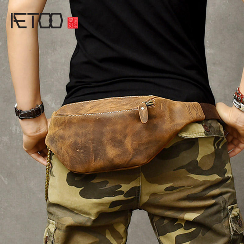 AETOO Multi-functional Retro Trend Crazy Horse Leather Small Breast Bag, Men's Stiletto Bag, Sports Cowhide Waist Hanging Bag