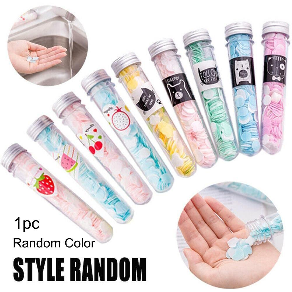 1 Plastic Test Tube 2 Style Fruits Cartoon Disposable Mini Soap Flakes Outdoor Hand Washing Paper Soap Tablets Travel Soap Paper