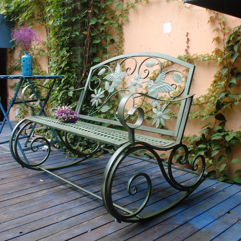 American Iron Art Retro Outdoor Schommelstoel Bench Binnenplaats Tafel En Stoel Park Stoel Binnenplaats Leisure Decoratie - 4