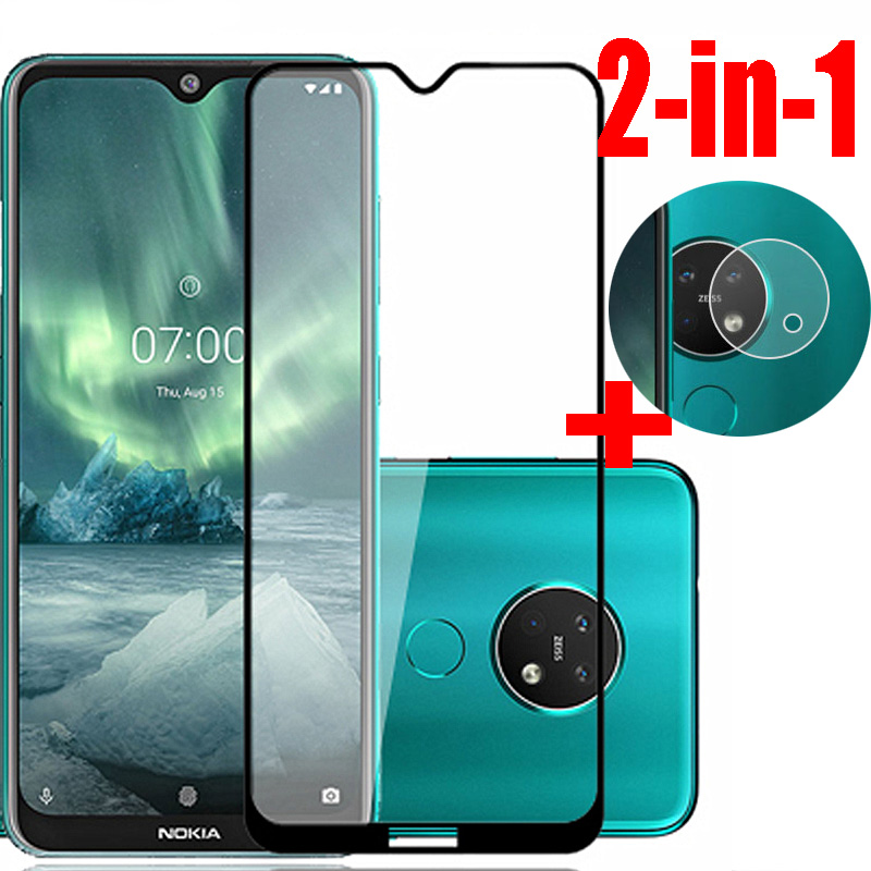 2-in-1 9H Tempered Glass + Rear Camera Film For NOKIA 7.2 HD Screen Protector For Nokia 7.2 Full Cover Glass Film Anti-Burst