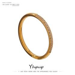 Yhpup Simple bague en acier inoxydable or cubique Zircon 18 K plaqué minimaliste bague avec breloque pour les femmes