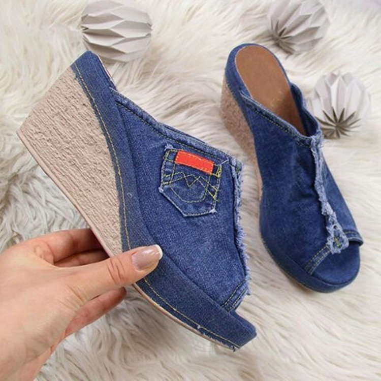 <font><b>Shoes</b></font> <font><b>women</b></font> <font><b>slippers</b></font> denim <font><b>wedges</b></font> sandals <font><b>sexy</b></font> open toe ladies <font><b>high</b></font> <font><b>heels</b></font> summer platform slides big size flip flops sandalias image