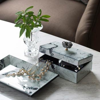 Powkhome nowoczesne luksusowe pudełko na biżuterię szafirowe tekstury dekoracja ze szkła pudełko z niebieski agat agat kawałek rzemiosła domu szkatułka na biżuterię tanie i dobre opinie CN (pochodzenie) Litery Europa Szkło