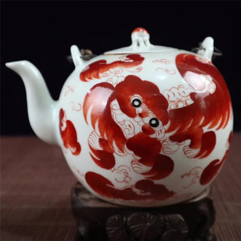 Collection Jingdezhen Porcelain Teapot Hand Painted Retro Auspicious Lucky Lion Teapot Home Decoration Gift