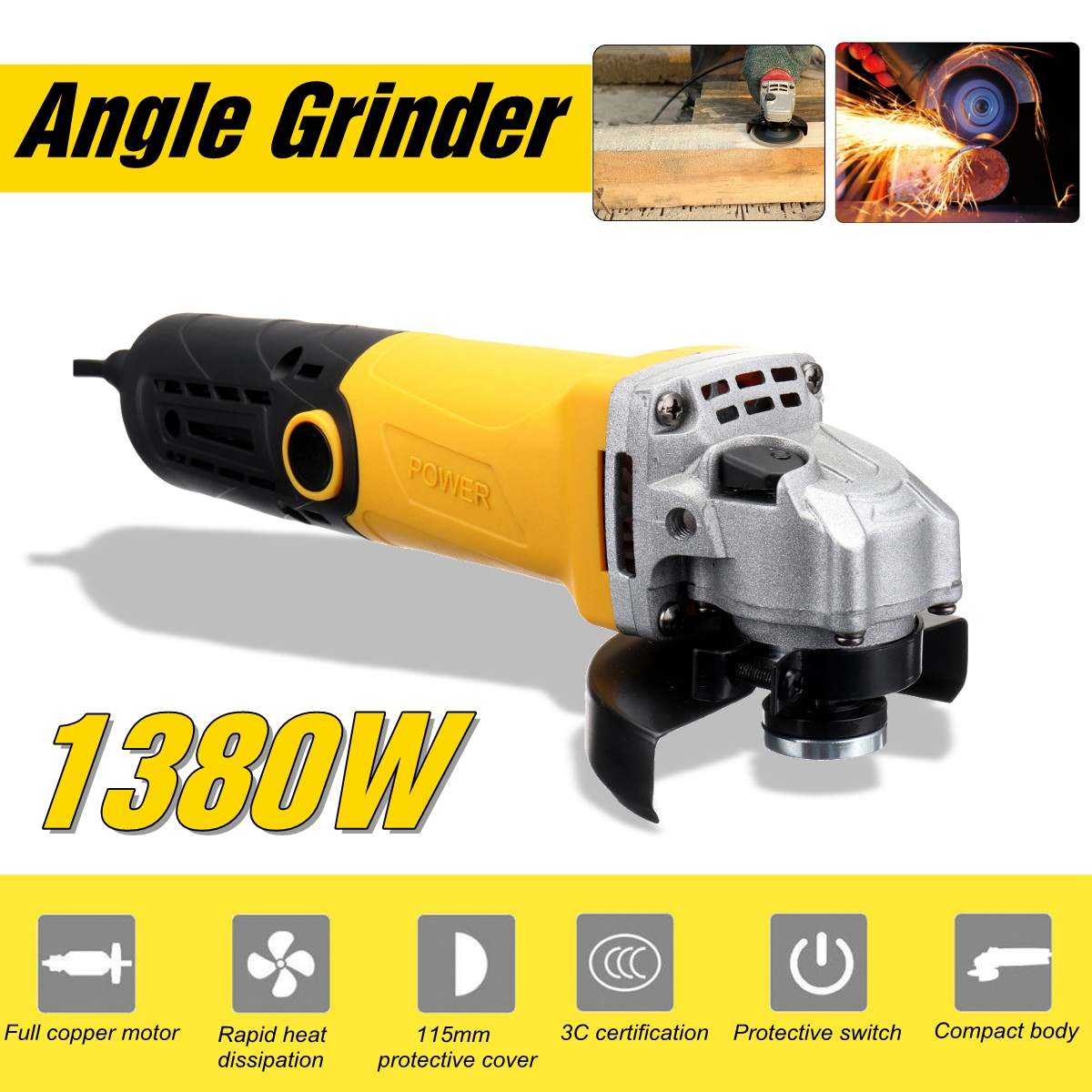 Metal Cutting Tool 220V/50Hz 1380W Electric Angle Grinder Grinding Machine 11000RPM Adjustable Anti-Slip Powerful Protect