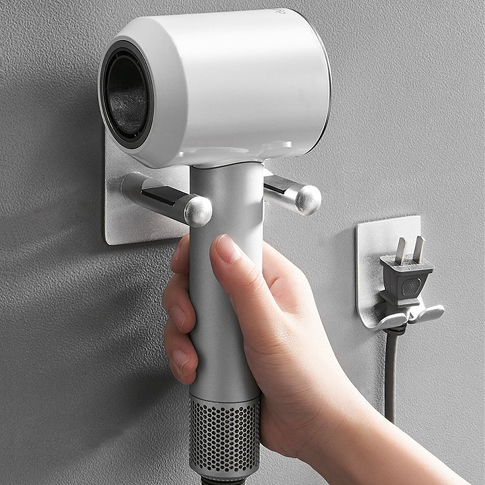 Rack Free Punch Storage Bracket Hanger Bathroom Silver Wall Mount For Dyson Hair Dryer Holder Waterproof Aluminium Storage Rack