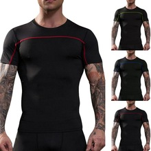 HEFLASHOR Quick Dry Running Shirt 2019 Mens Fitness Tight Compression