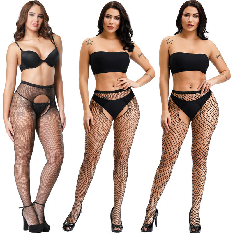3 Style HOT SELLING Black Lace Fishnet Stockings Open Crotch Tights Lace Sexy Hosiery Women Thigh High Stockings Pantyhose