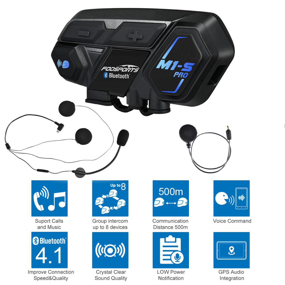 Fodsports M1-S Pro Helm intercom Headset Motorrad Wasserdichte Intercom Bluetooth sprech 8 Reiter 1200M Intercomunicador