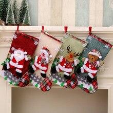 Чулок Санта-Клауса носок конфеты сумки Рождественская елка Ornamets Подвески льняной Подарочный мешок для детей камин подвесной Декор вечерние поставки