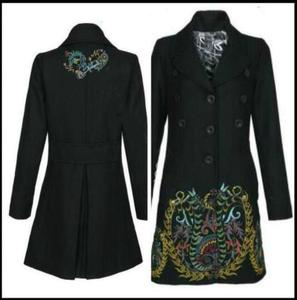 Spain DEG winter retro Plaid stitching embroidered vertical collar wool overcoat in 2020