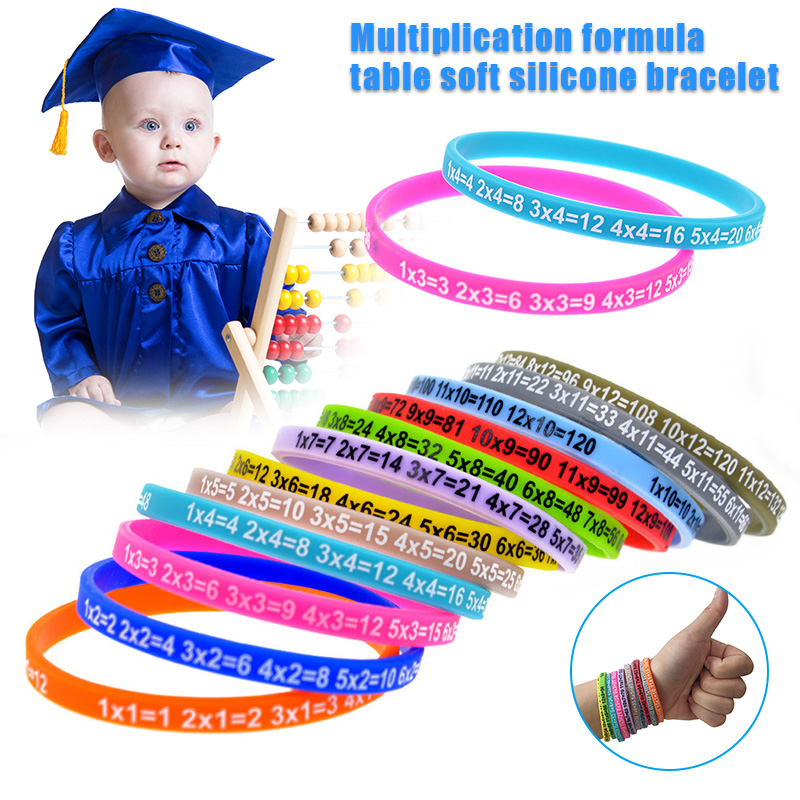 12pcs Multiplication Tables Soft Silicone Bracelet Learn Math Education Wristband For Kids YH-17