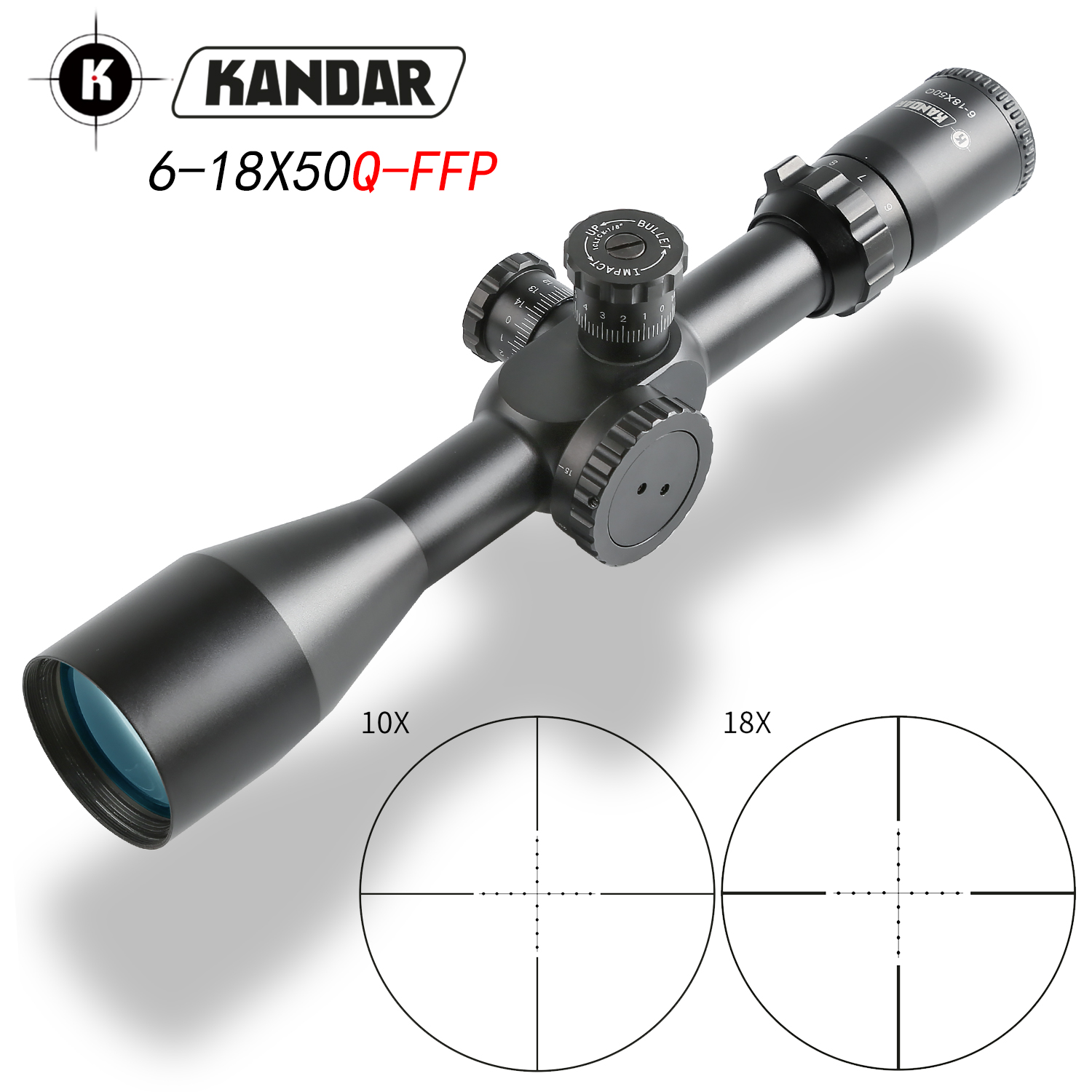 KANDAR 6-18X50 FFP Tactical Riflescope Red Green Illuminate Rifle Scope Sniper Optic Sight Hunting Scopes Red Dot Hunting Optics
