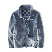 Mcikkny Men Hip Hop Plaid Jeans Jackets Blue Washed Denimi Jackets Male Streetwear Clothing(China)