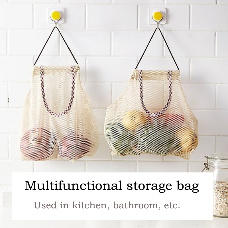 1PC Kitchen hanging type onion storage grocery bag holder home organization and storage bathroom storage breathable mesh pocket