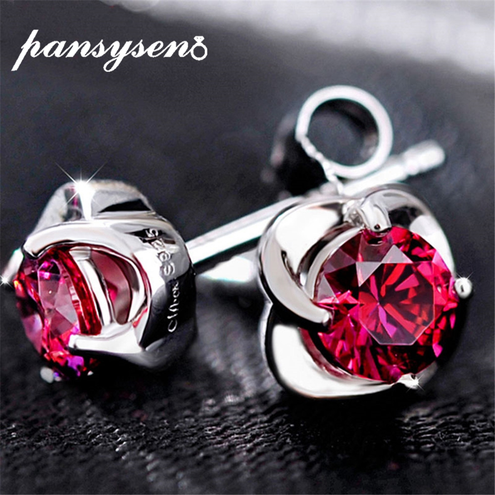 PANSYSEN Fashion Luxury Earrings For Women 925 Sterling Silver Created Ruby Gemstone Jewelry Stud Earring  Valentine's Day Gift