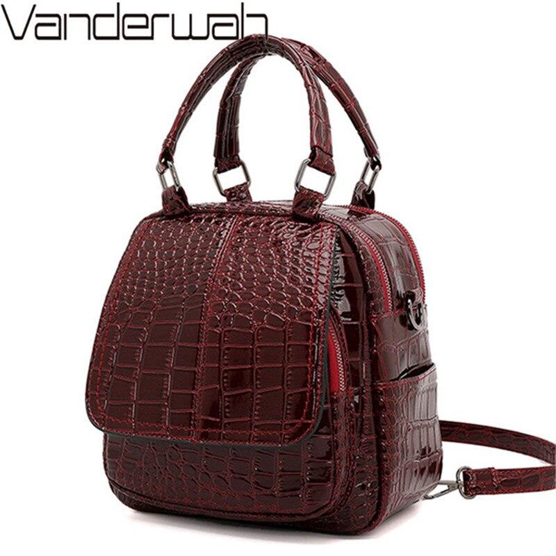 Women Backpacks Crocodile Pattern Leather Backpack Multi-function School Bags For Teenage Girls Shoulder Bags Bagpack Mochilas