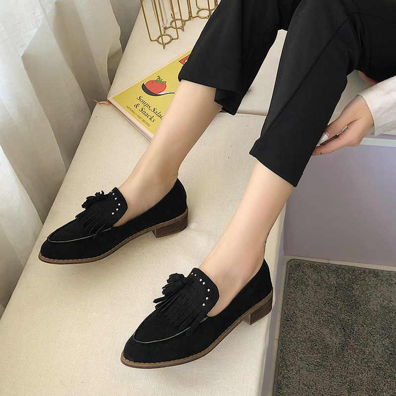 Plus Size 34-43 Nieuwe Ontwerp Vrouw Nubuck Lederen Schoenen Nubuck Leer Loafers Kwastje Mocassins Slip op Chaussure Femme schoen