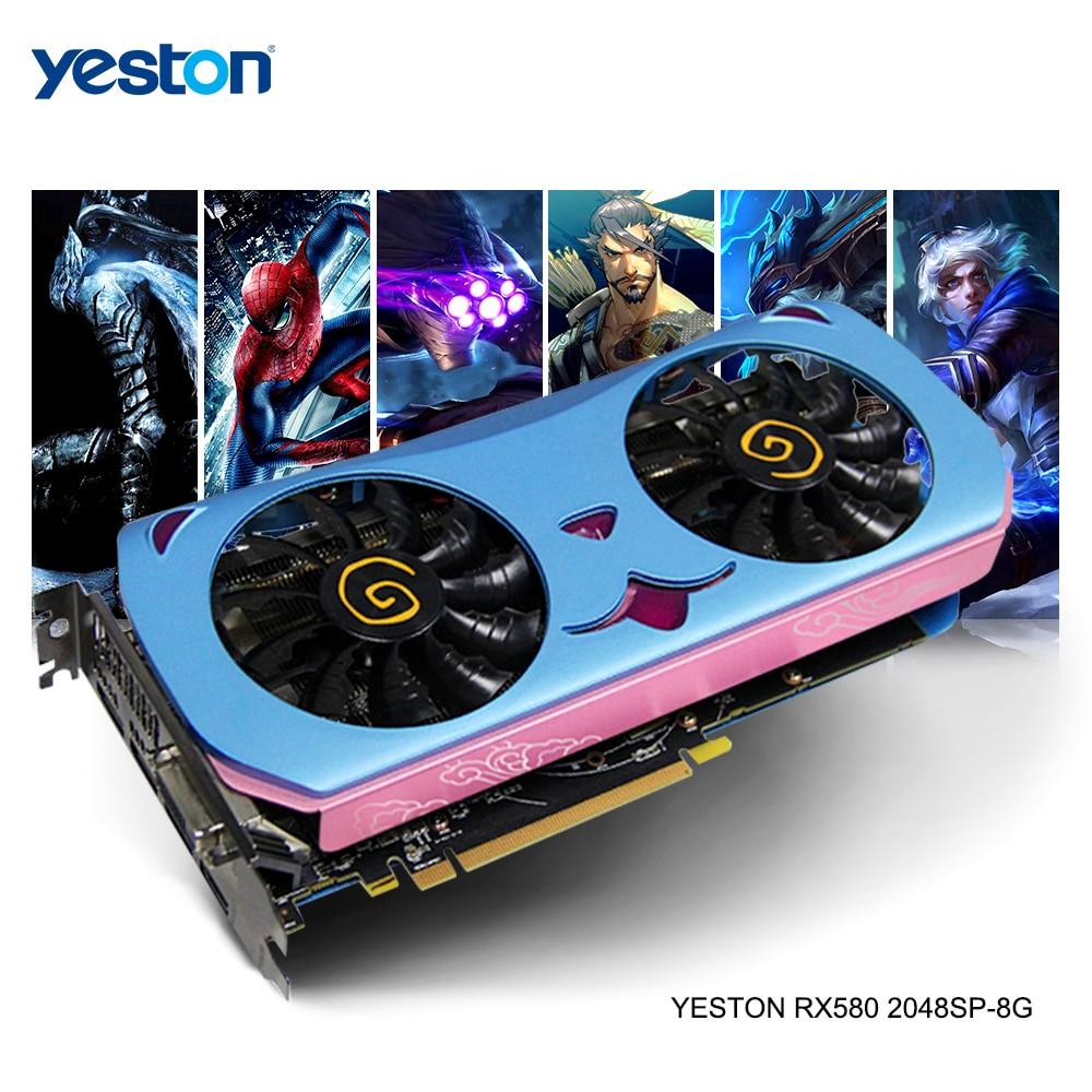 Yeston Radeon RX 580 GPU 8GB GDDR5 256 bit Gaming Desktop computer PC Video Graphics Cards support DVI/ HDMI PCI E X16 3.0pci-e x16256 bitgraphic card -
