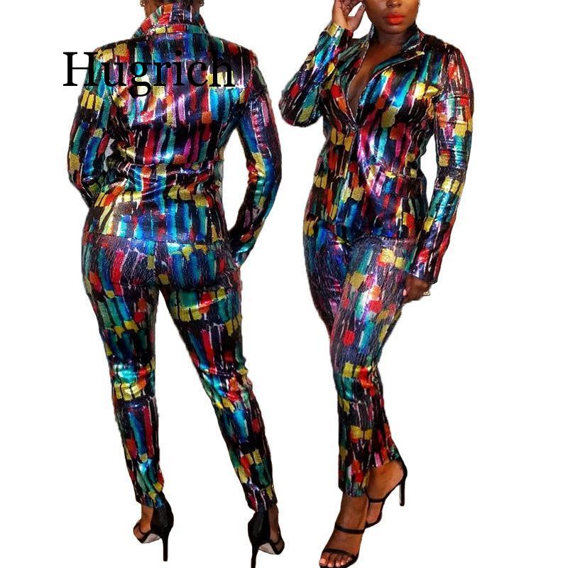2020 Women Tracksuit Full Sleeve Sequined Print Blazers Pants Suit Office Lady Casual Elastic Waist Pants Two Piece Set